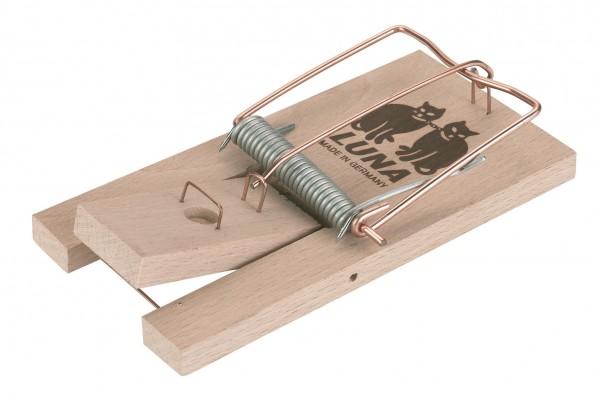 Rattenfalle LUNA aus Holz mit Federspanner und Trittauslöser, Falle original LUNA