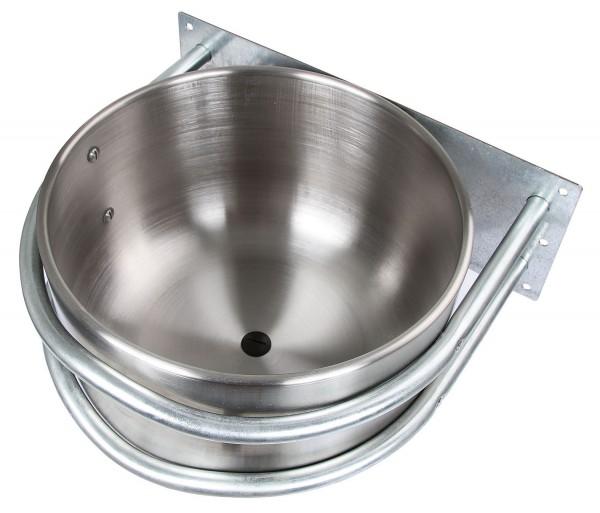 Edelstahl-Futtertrog in runder Form mit praktischem Ablaufstopfen