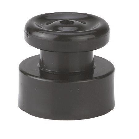 Nagelisolator aus schwarzem Kunststoff, Isolator in Knopfform zum Annageln an Holzpfähle, Lieferung ohne Nagel