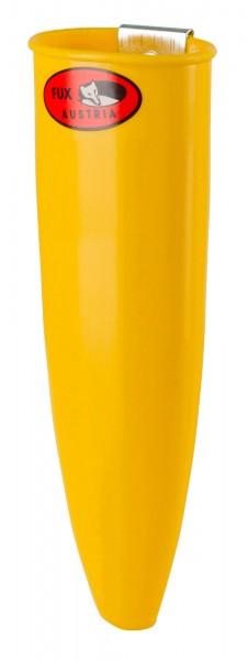 Wetzsteinbehälter FUX aus Kunststoff in der Farbe gelb inklusive Befestigungsklemme
