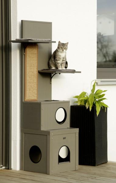 ECO-Katzenspielhaus Alex aus Eco-Recyclingmaterial, 60 % Kunststoff / 40 % Holz