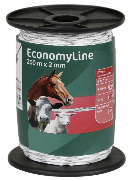 EconomyLine Litze kreuzgewickelt, besonders robust mit Eisendraht, Farbe weiß, 200 m