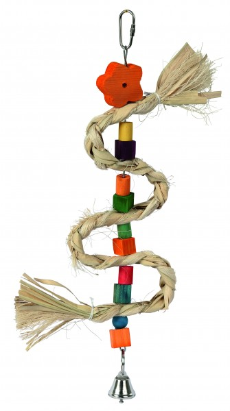 Vogelspielzeug aus Sisal, Kiefernholz, Maisblättern und 1 Glocke