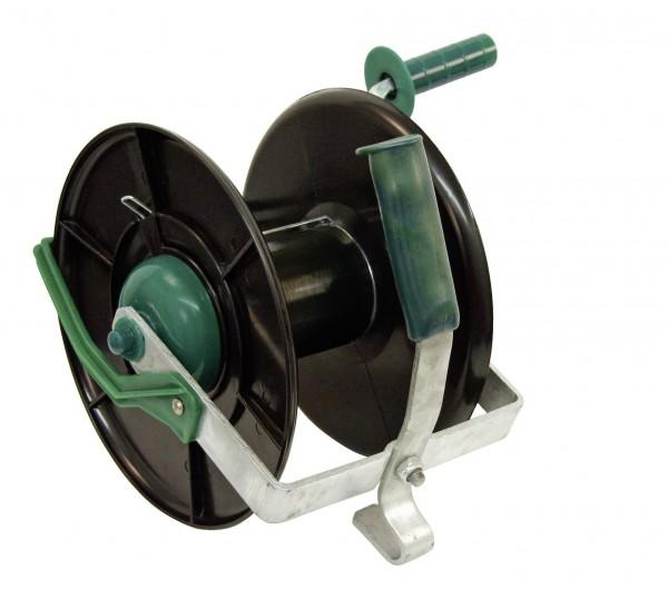 Kompakthaspel aus schlagfestem Kunststoff mit Oese zur Drahtführung, robuster Stahlkurbel und Feststellbremse