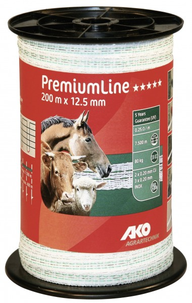 PremiumLine Weidezaunband mit einer Breite 12,5 mm, in der Farbe weiß/ grün für höchste Leitfähigkeit und Hütesicherheit