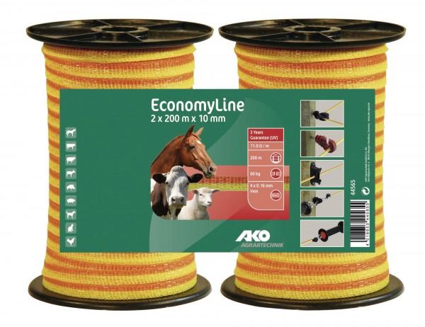 EconomyLine Weidezaunband, Doppelpack 2x 200 m, 10 mm Breite, gelb/ orange, für kurze Zäune und Portionsweiden
