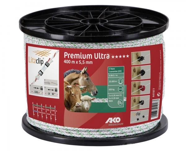 Premium Ultra Weidezaunseil mit kreuzgeflochtenen PE-Monofilamenten, 400 m, Farbe weiß/ grün