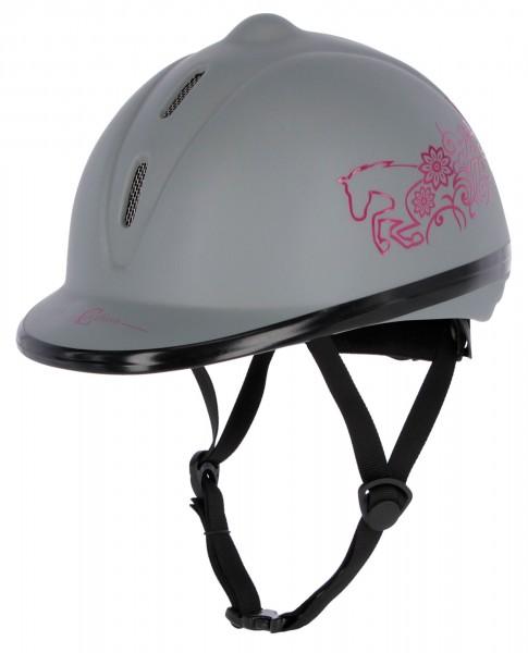 Reithelm Beauty für Kinder mit schlanker Helmform, grau