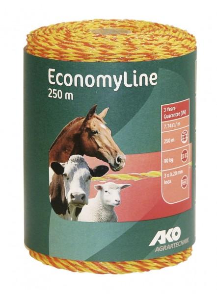EconomyLine Weidezaunlitze für kurze Zäune, kleine Koppeln oder Portionsweiden, Farbe gelb/ orange