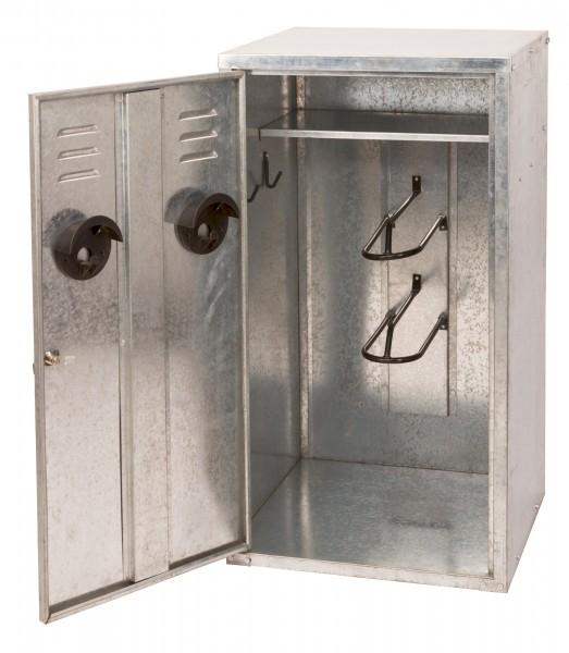 Hochwertiger Sattelschrank aus Stahlblech mit einem Ablagefach und 2 Sattelhaltern