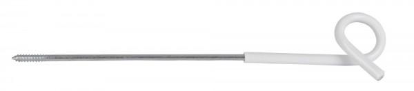 Langstiel-Ösenisolator in der Farbe weiß, Vorbauisolator/ Abstandshalter mit Holzgewinde, Stütze 25 cm lang