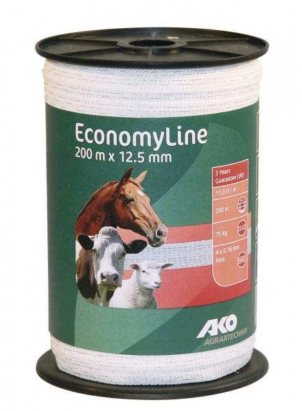 EconomyLine Weideband, 200 m x 12,5 mm, weißes Weidezaunband für kurze Zäune oder Portionsweiden