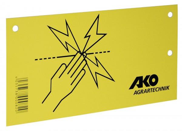Warnschild Elektrozaun, Weidezaunwarnschild von AKO, gelbes Kunststoffschild mit schwarzer Schrift, beidseitig bedruckt mit 2 Befestigungslöchern