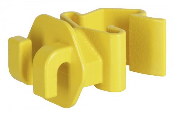 T-Post Seilisolator in der Farbe gelb, Isolator in sehr robuster Ausführung für Seile, Litzen, Bänder