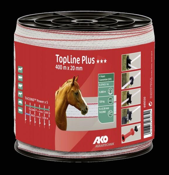 TopLine Plus Weidezaunband weiß/ rot, Band mit  20 mm Breite, 400 m Länge für Zäune bis max. 5.000 m