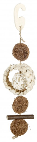 Vogelspielzeug Cocos aus Kokusnussfasern, Weidengeflecht, Maisschale und Holz