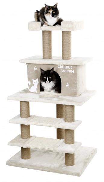 Kratzbaum Chillout Lounge mit 1 Höhle, 2 Sisal-Kratzmatten und 1 Liegeplatz, mit Sisal