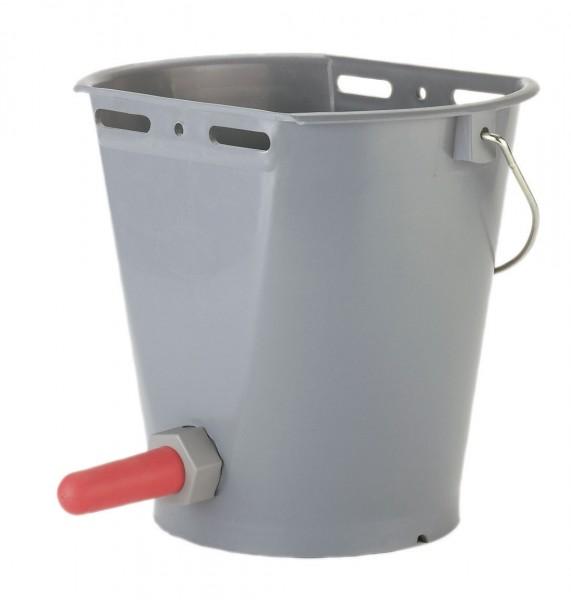 Kälbertränkeeimer aus Kunststoff, komplett mit Sauger und Ventil in der Farbe grau