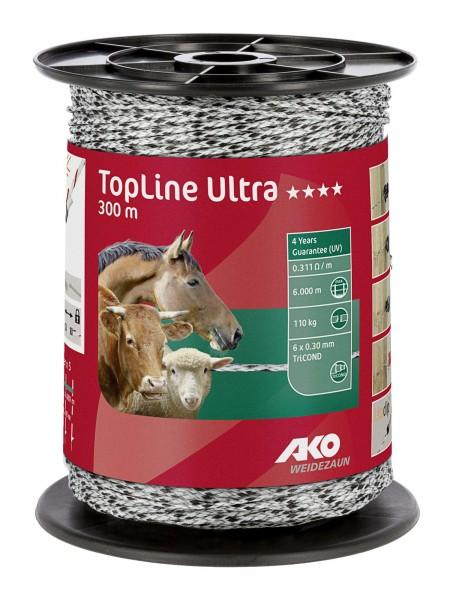 TopLine Ultra, Weidezaunlitze in der Farbe weiß/ schwarz, 300 m auf einer Rolle