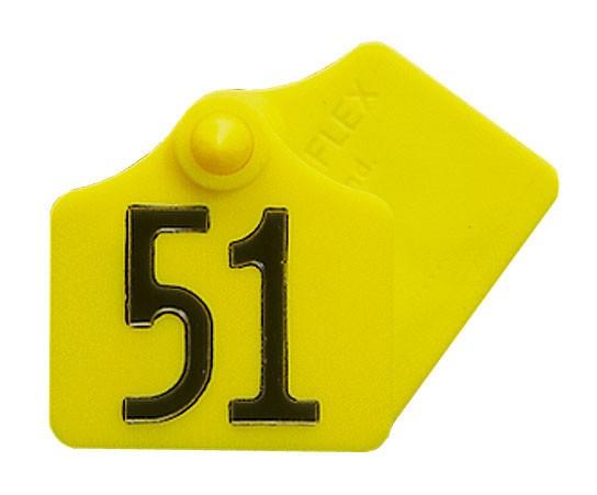 PrimaFlex Ohrmarken Größe 1 blanko Farbe gelb, Abb. Ohrmarke mit Prägung