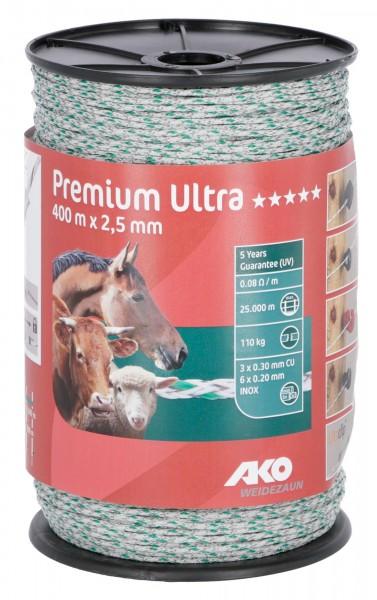 Premium Ultra Weidezaunlitze in der Farbe weiß/ grün, Weidezaunseil für sehr lange Zaunanlagen