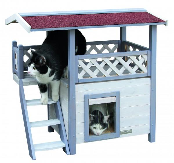 Formschönes 2 stöckiges Katzenhaus mit Schwingtür mit Lamellen