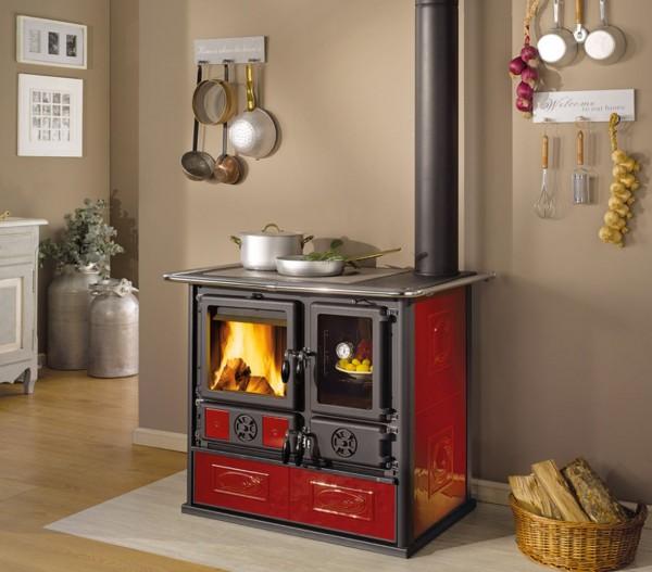 Küchenherd, Holz- und Kohleherd ROSA REVERSE, bordeaux