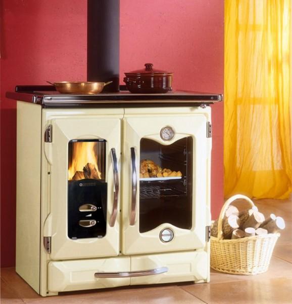 Kochmaschine, Holz- und Kohleherd, Herd MAMYRA, creme
