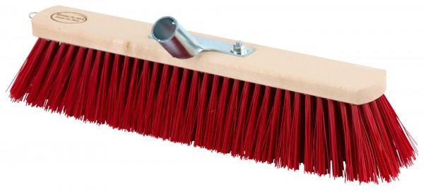 Großraumbesen mit Holzrücken, Stielhalter aus Metall und roten Kunstborsten