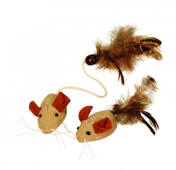 Kleine Spielmaus mit Federn für Katzen aus reinen Naturmaterialien
