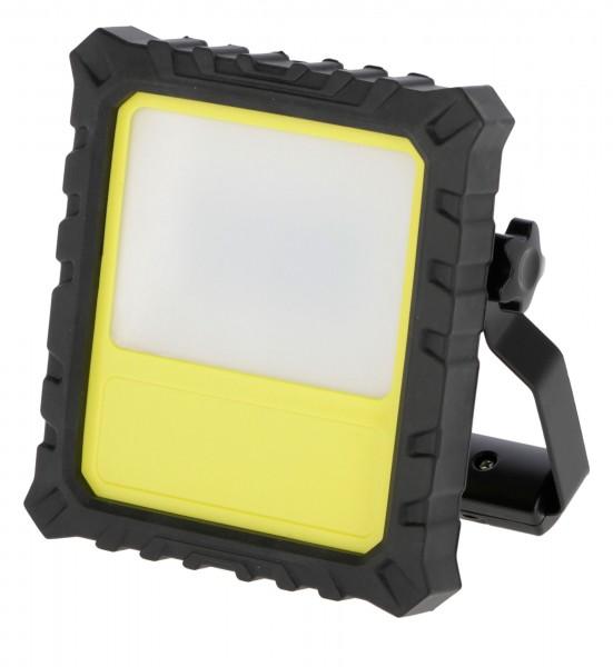 Mobiler LED-Akkustrahler mit robustem Kunststoffgehäuse und Silikon-Kantenschutz
