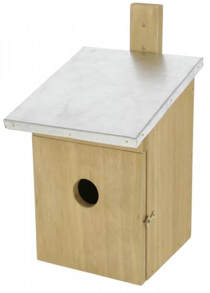 Nistkasten für Vögel mit abfallendem Metalldach, Vogelhäuschen mit Fronttüre zum Öffnen inkl. Verschluss