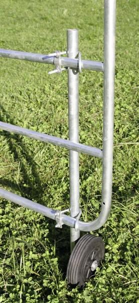 Stützrad für verstellbare Weidetore mit Befestigungsstange und Montagebügel, Montage rechts