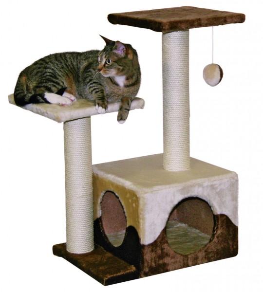 Kratzbaum mit Sisalsäulen, Höhle, 2 Liegeplätzen und Spielball für Ihre Katze, 70 cm hoch