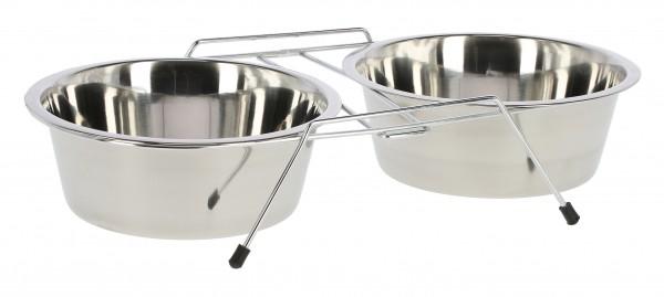Doppelnapfständer mit Ständer, rutschfest durch die Gummifüße, hygienisch und leicht zu reinigen