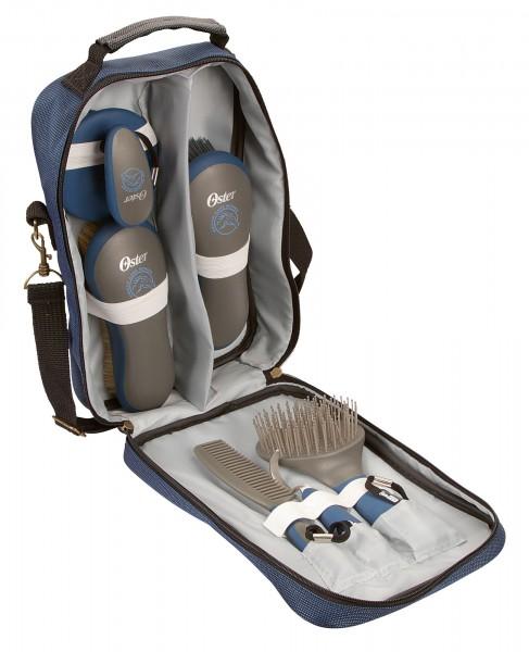 7-teiliges Pferdepflege-Set von Oster in der Tasche, blau