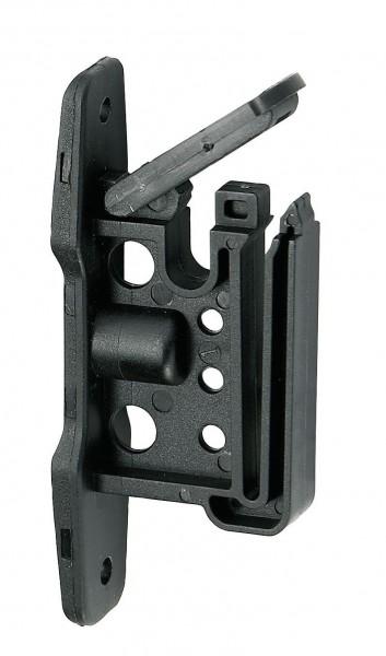 Klippisolator Easy Tape für Bänder und Seile, Isolator zum Anschrauben, Abbildung geöffneter Klippmechanismus