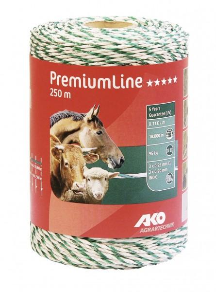 PremiumLine Weidezaunlitze mit dicken PE-Fäden, Farbe weiß/ grün 250 m, Zaunlitze für lange Zäune
