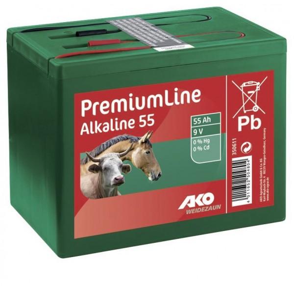 Alkaline 9 Volt Trockenbatterie, Weidezaunbatterie 55 Ah mit konstant hohem Spannungsverlauf