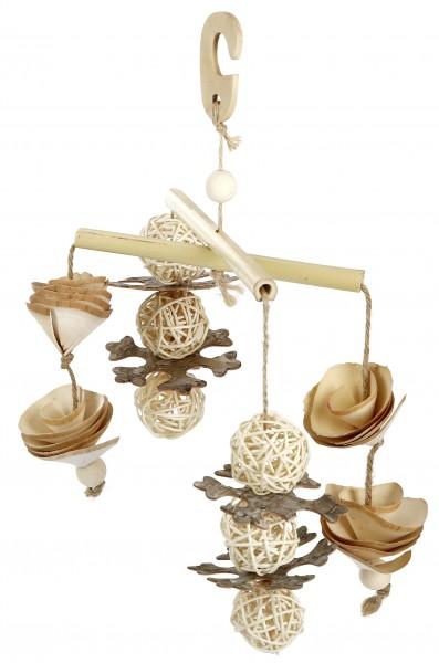 Vogelspielzeug aus Bambus, Weidengeflecht, Holzrinde und Holzball