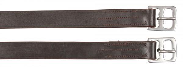 Steigbügelriemen aus echtem Leder in der Farbe braun, 145 cm lang, 27 mm breit