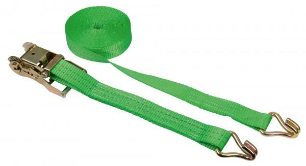 Ratschen-Zurrgurt mit Spitzhaken zur Befestigung am Anhänger, grün