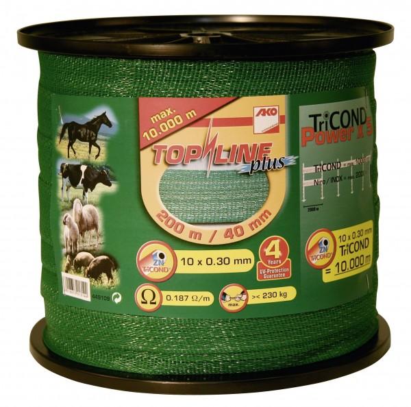 TopLine Plus Weidezaunband 40 mm breit, 230 kg Bruchlast, Zaunband in der Farbe grün für lange Einkoppelungen
