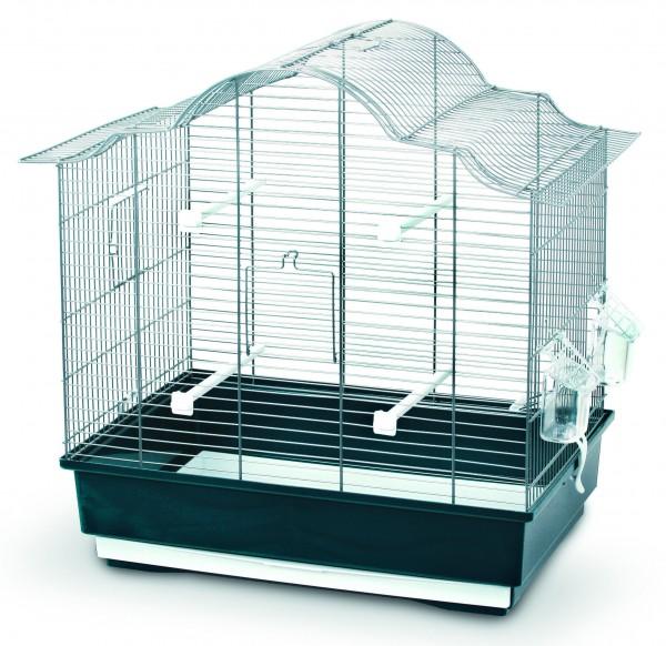 Vogelkäfig mit herausziehbarem Käfigboden, Sitzstangen und Näpfen
