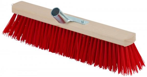 Großraumbesen kompakt mit roten Borsten aus Elastan, Holzrücken und Stielhalter aus Metall