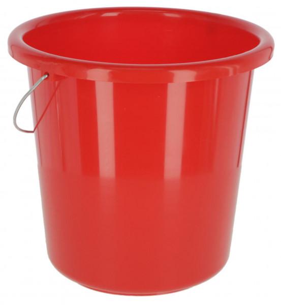 roter Plastikeimer mit Henkel, Wassereimer für 10 Liter Inhalt