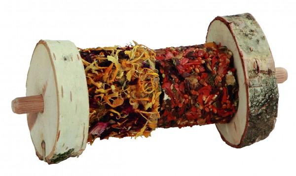 Rollbuffet auf Holtspieß, natürliche, erstklassige und hochwertige Snacks mit Getreide, Gemüse und Naturholz