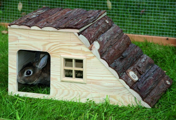 Haus mit Rampe für Nagetiere, aus 100% Naturholz