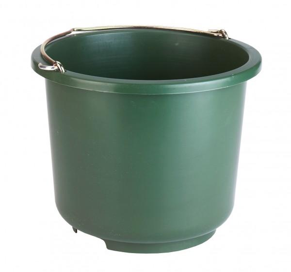 Stall- und Baueimer, ein großer, stabiler Eimer aus Kunststoff, olivgrün