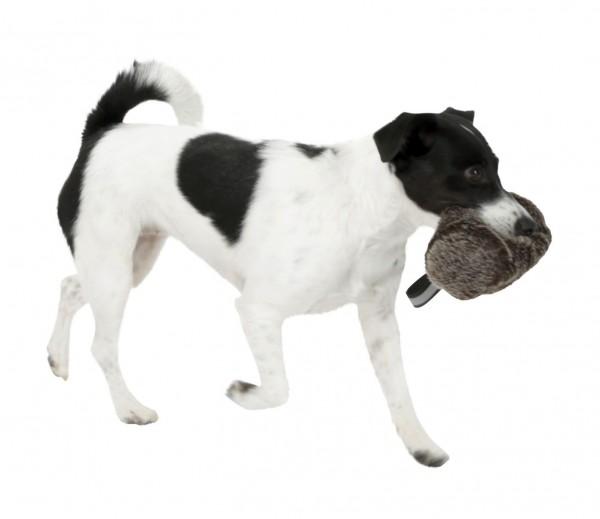 Snackdummy aus Langhaarplüsch in Felloptik weckt den Jagdinstinkt des Hundes